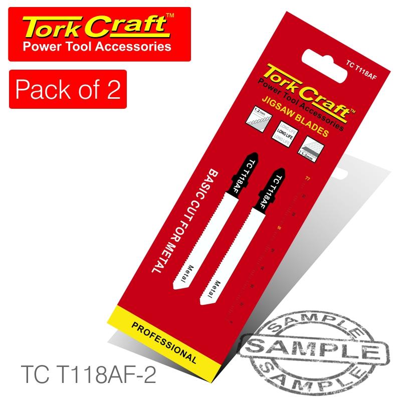 T-shank jigsaw blade for metal 1.2mm 21tpi 75mm 2pc(TC T118AF-2)