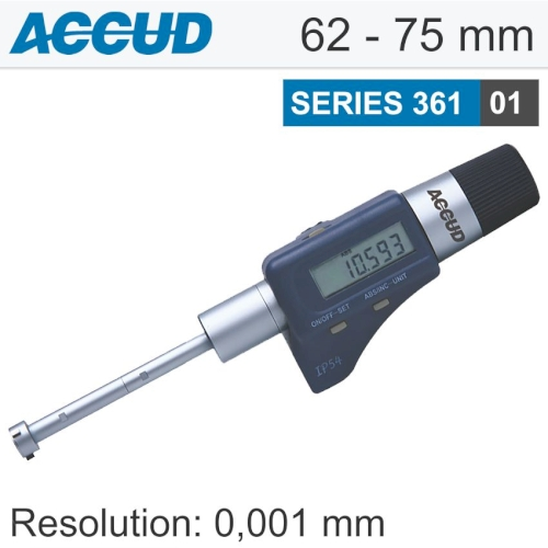Digital three points internal micrometer with setting ring 62-75mm/2.4